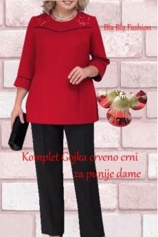 Komplet Gojka Crveno Crni Za Punije Dame