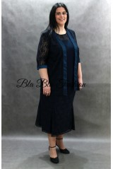 Plus size Navy Blue lace 3 pices skirt suit